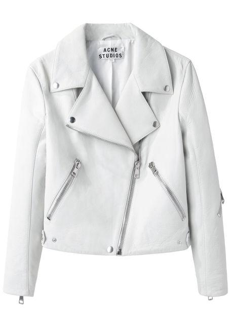 White and black leather jacket